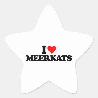 I LOVE MEERKATS STAR STICKERS