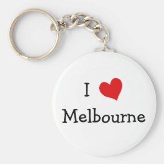 I Love Melbourne Basic Round Button Key Ring