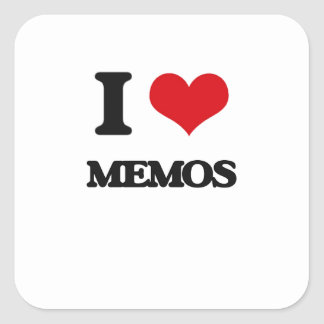 I Love Memos Square Stickers