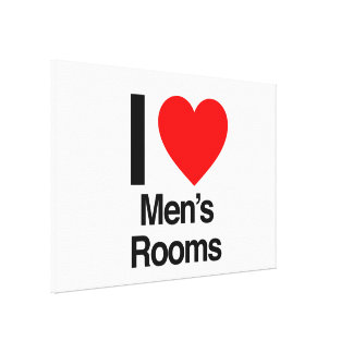 i love men s rooms stretched canvas print