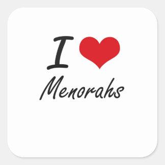I Love Menorahs Square Sticker