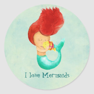I love Mermaids Classic Round Sticker