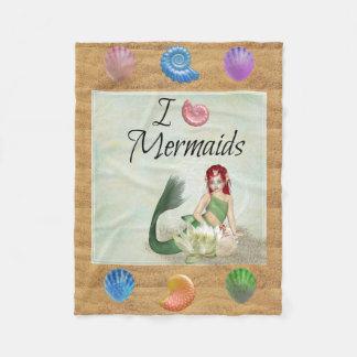 I Love Mermaids Mermaid Throw Blanket