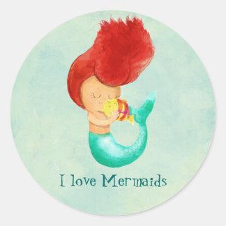 I love Mermaids Round Sticker