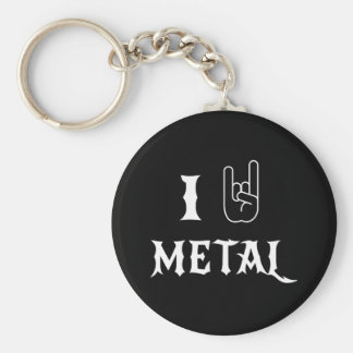 I Love Metal Basic Round Button Key Ring