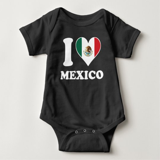 I Love Mexico Mexican Flag Heart Baby Bodysuit