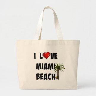 I Love Miami Beach Large Tote Bag