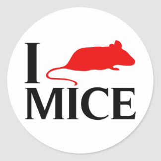 I Love Mice Round Sticker
