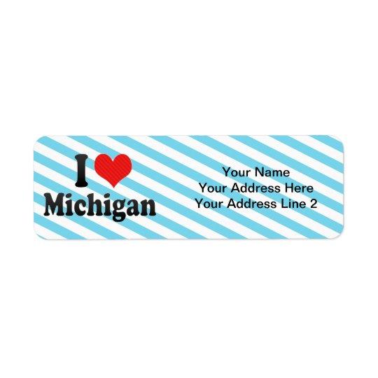 I Love  Michigan Return Address Label