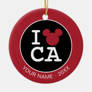 I Love Mickey | CA  - Add Your Name Ceramic Ornament
