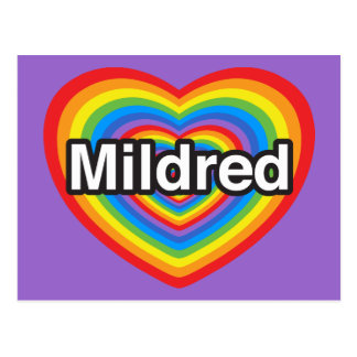 I love Mildred I love you Mildred Heart Post Cards