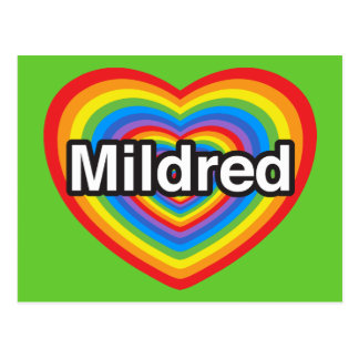 I love Mildred. I love you Mildred. Heart Postcard