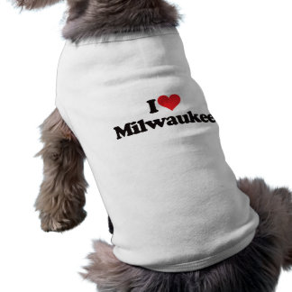 I Love Milwaukee Sleeveless Dog Shirt