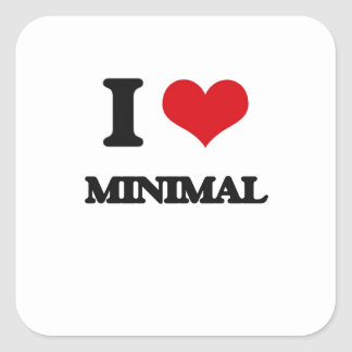 I Love Minimal Square Stickers