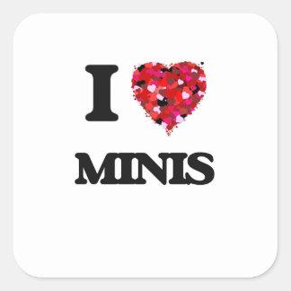 I Love Minis Square Sticker