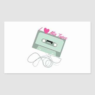 I Love Mix Tapes Rectangle Stickers
