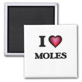 I Love Moles Square Magnet