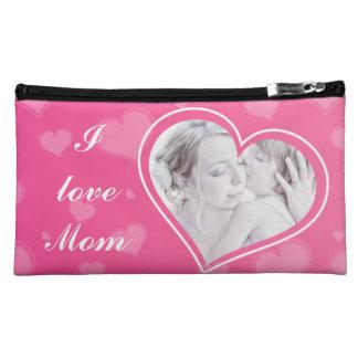 I love Mom Custom Photo Pink Suede Cosmetic Bag