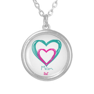 I love mom silver plated necklace