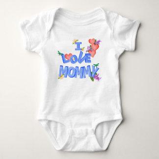 """I Love Mommy"" daisy, lilac, hearts, dragonflies Baby Bodysuit"