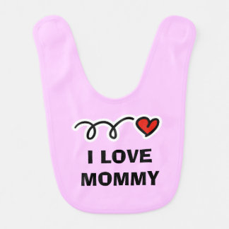 I love mommy pink baby bib with name and red heart