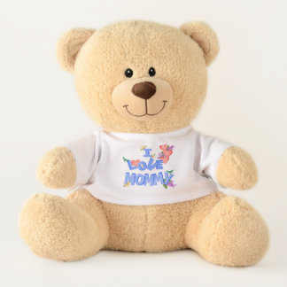 """I Love Mommy"" with daisies, lilacs and dragonfly Teddy Bear"