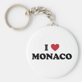 I Love Monaco Basic Round Button Key Ring