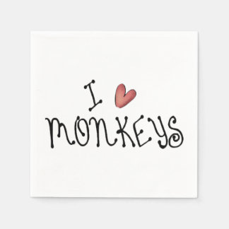I Love Monkeys Paper Napkins