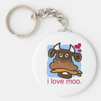 I Love Moo Basic Round Button Key Ring