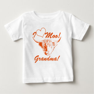 I Love Moo Grandma! Personalized Highland Cow Baby T-Shirt