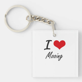 I Love Mooing Single-Sided Square Acrylic Key Ring