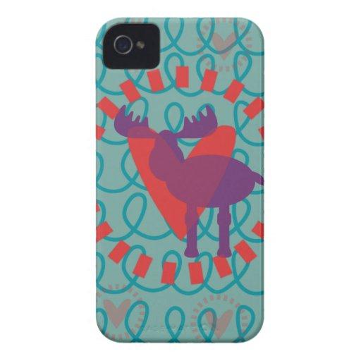 I love Moose Heart Doodle Nature Lover Design Case-Mate iPhone 4 Cases