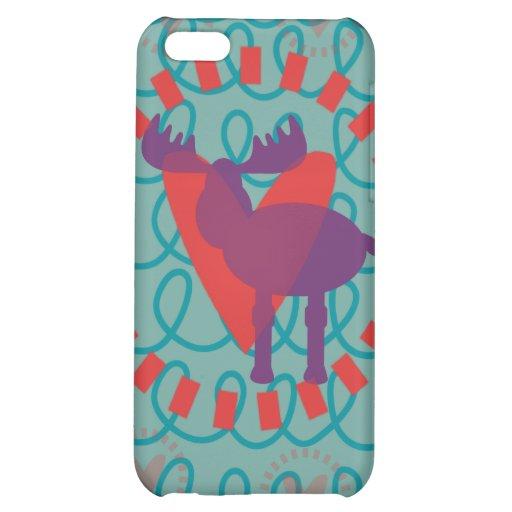 I love Moose Heart Doodle Nature Lover Design iPhone 5C Cases