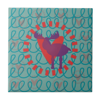 I love Moose Heart Doodle Nature Lover Design Tile