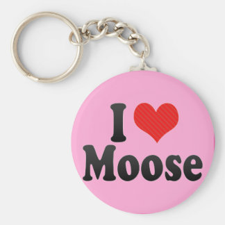 I Love Moose Key Ring