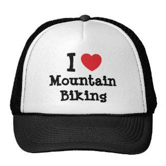 I love Mountain Biking heart custom personalized Trucker Hats