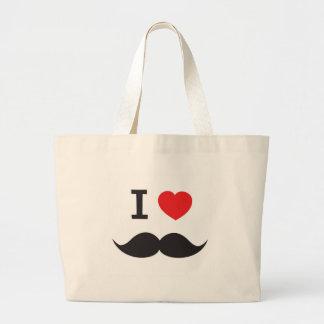 I Love Moustache Tote Bags