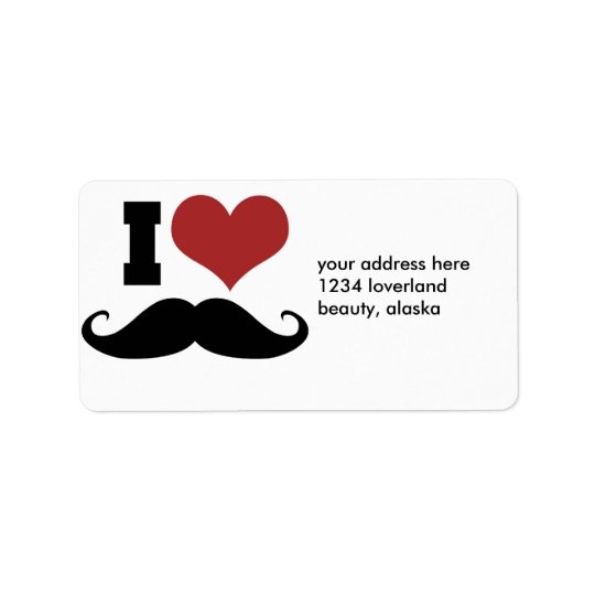 I Love Moustache Label