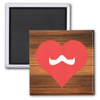 I Love Moustaches Square Magnet