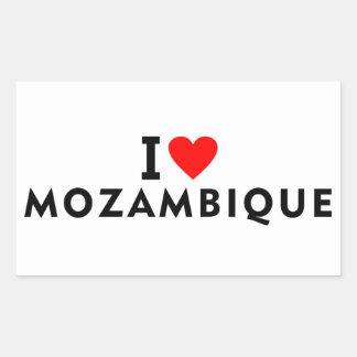 I love Mozambique country like heart travel touris Rectangular Sticker