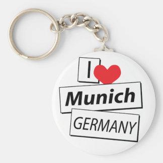 I Love Munich Germany Basic Round Button Key Ring