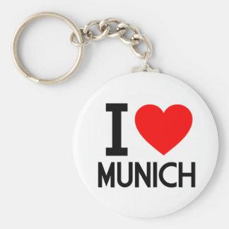 I Love Munich Basic Round Button Key Ring