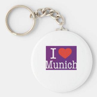 I Love Munich Purple Key Chains