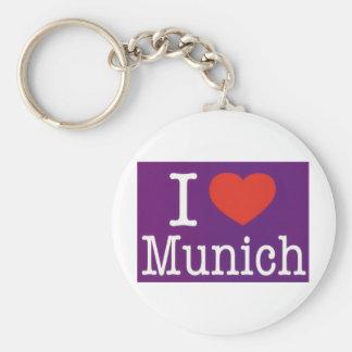 I Love Munich Purple Basic Round Button Key Ring