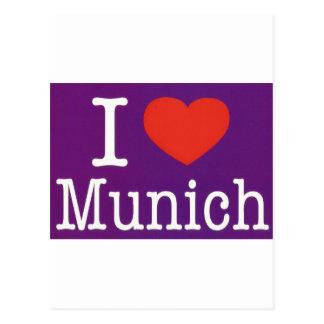 I Love Munich Purple Postcard
