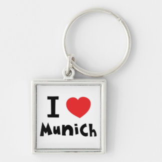 I love Munich Silver-Colored Square Key Ring