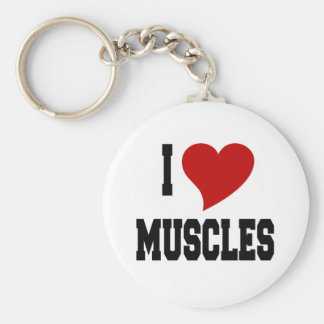 I Love Muscles Basic Round Button Key Ring