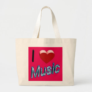 I Love Music 2 Large Tote Bag
