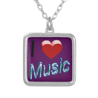 I Love Music 2 Silver Plated Necklace