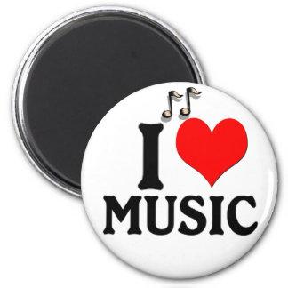 I Love Music 6 Cm Round Magnet